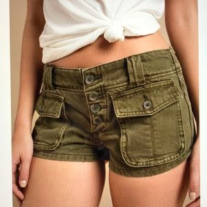 Free People Cora Olive Button Front Cargo Short 27